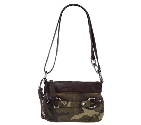 B.Makowsky Camouflage Leather Zip Top Convertible Crossbody Bag