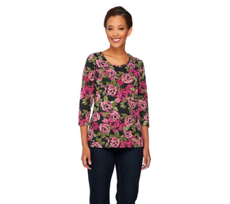 Denim & Co. Perfect Jersey 3/4 Sleeve Rose Print T-shirt
