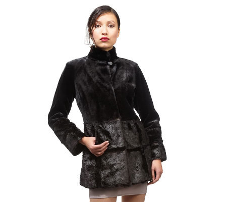 Luxe Rachel Zoe Mixed Faux Fur Coat with Stand Collar