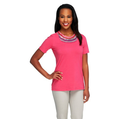 Kelly by Clinton Kelly Statement Embellished T-shirt