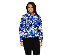 Liz Claiborne New York Floral Print Long Sleeve Jean Jacket - A261240