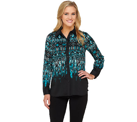 Bob Mackie's Tribal Print Button Down Top with Point Collar
