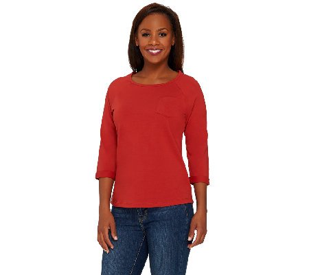 Denim & Co. Essentials Jersey 3/4 Sleeve Top w/ Curved Hem