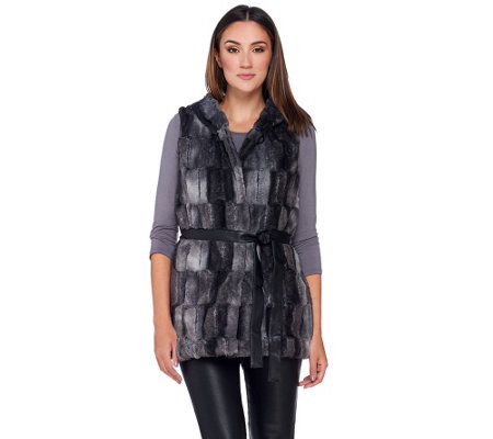 Dennis Basso Faux Fur Vest with Hood and Belt