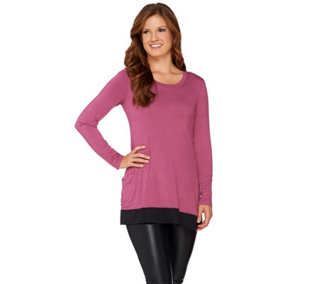 LOGO by Lori Goldstein Long Sleeve Knit Top with Charmeuse Trim
