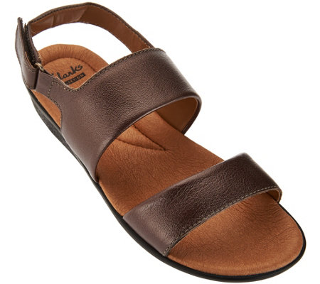 Clarks Leather Double Strap Adj. Sandals - Manilla Penna