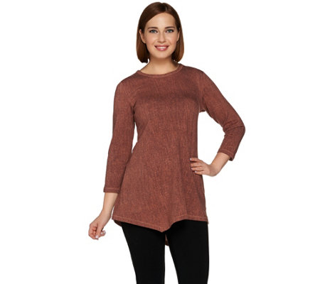 LOGO Lounge by Lori Goldstein French Terry Knit Top with Angled Hem