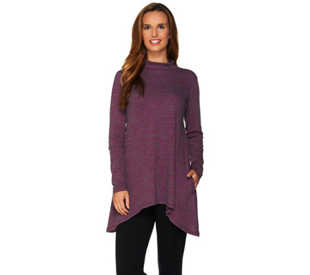 Logo Lotus By Lori Goldstein Space Dye Ribbed Knit Top