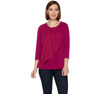 Susan Graver Liquid Knit Top with Woven Overlay