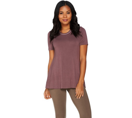 LOGO by Lori Goldstein Solid Knit Top with Contrast Details