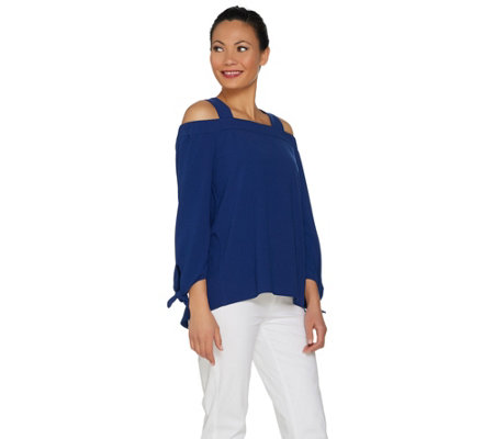 C. Wonder Cold Shoulder 3/4 Sleeve Top with Tie Detail