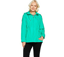 Susan Graver Zip Front Anorak Jacket w/ Mesh Accents and Hood - A288740
