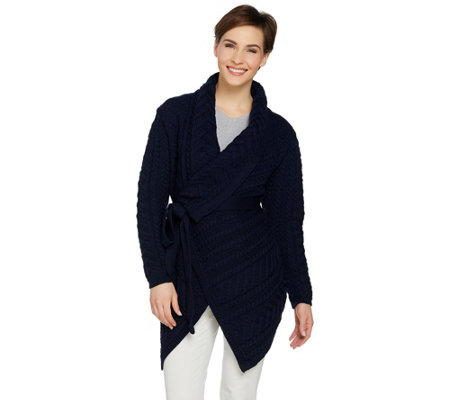 Aran Craft Merino Wool Cardigan with Waterfall Neckline