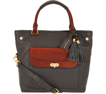 """As Is"" Isaac Mizrahi Live! Bridgehampton Pebble Leather Shopper Handbag"