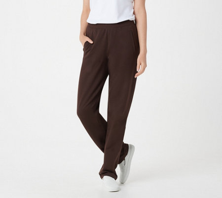 Denim & Co. Petite Active Pull-On Straight Leg Knit Pants