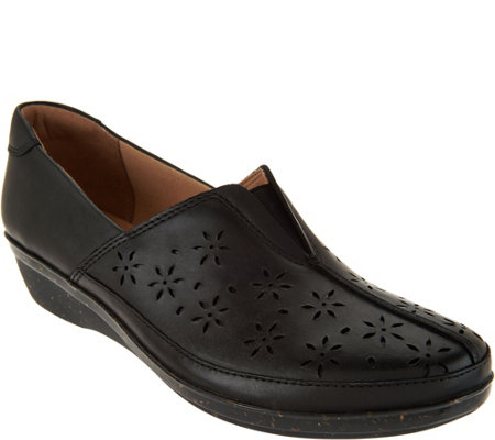"""As Is"" Clarks Leather Perforated Slip-ons - Everlay Dairyn"