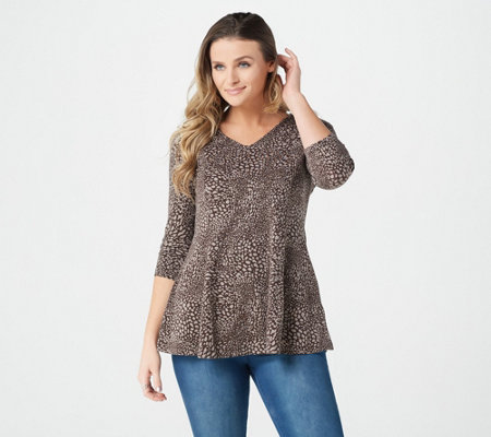 """As Is"" Denim & Co. Animal Print 3/4 Sleeve Fit & Flare Tunic"