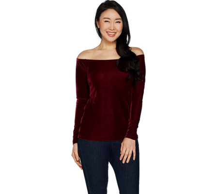 G.I.L.I. Stretch_Velvet Off the Shoulder Top