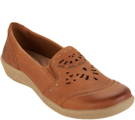 Earth Origins Leather Slip-on with Perforated Upper - Lorena