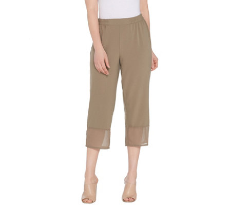 Linea By Louis Dell Olio Petite Mixed Media Pull On Crop Pants
