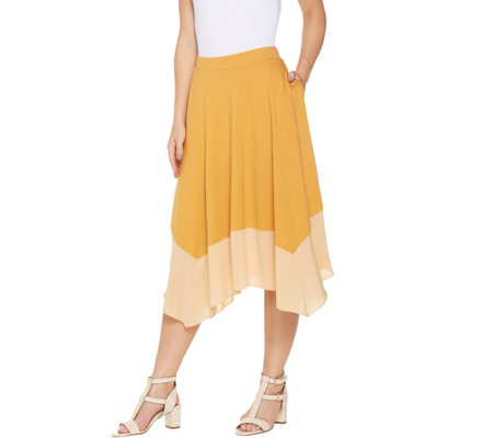LOGO by Lori Goldstein Pull-On Skirt with Woven Flounce Hem