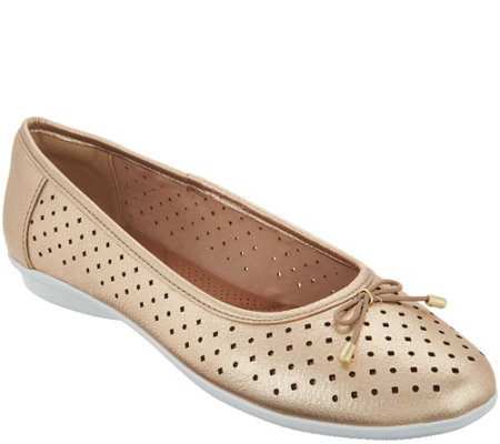 Clarks Perforated Leather Ballet Flats - Gracelin Lea