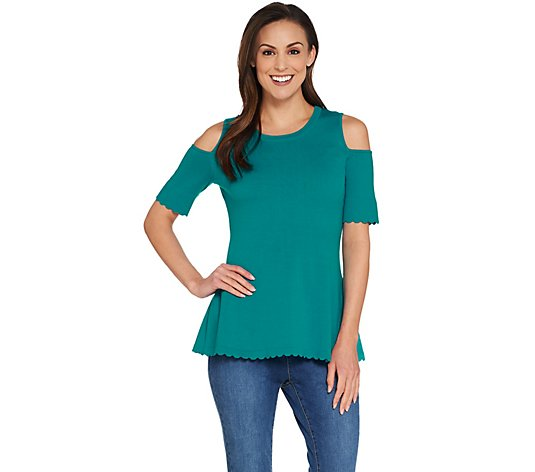 Isaac Mizrahi Live! Cold-Shoulder Scallop Peplum Sweater