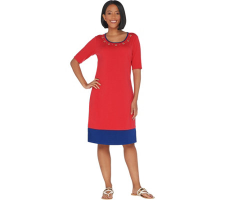 Quacker Factory Color-Blocked Knit Dress with Rhinestone Grommets
