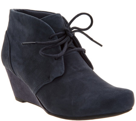 """As Is"" Clarks Suede Lace-up Wedge Ankle Boots- Flores Rose"