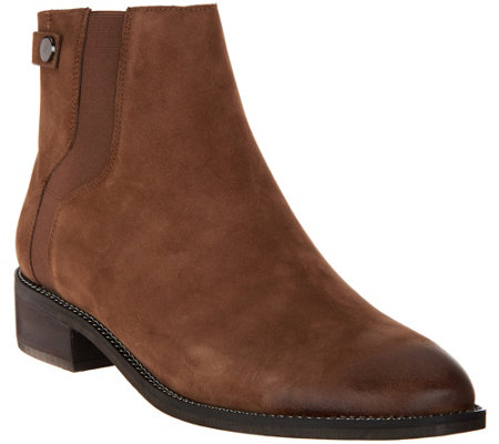 """As Is"" Franco Sarto Leather Ankle Boots - Brandy"