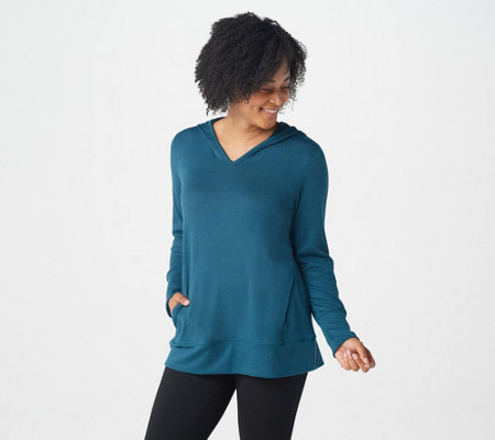 Denim & Co. Active Heavenly Jersey Long-Sleeve Top with Hood