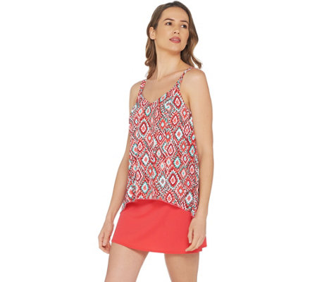 """As Is"" Denim & Co. Beach Hi- Low Tankini Swimsuit with Skirt"