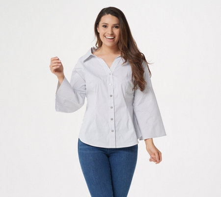 Laurie Felt Wide Neck Button Front Blouse