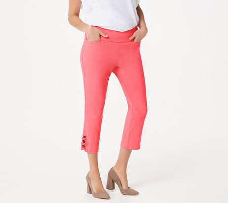 Belle by Kim Gravel Citi Twill Cropped Pant w/ Bow Detail