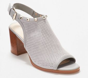 a5e217ca7b1a31 Marc Fisher Suede Perforated Heeled Sandals- Parso - A347840