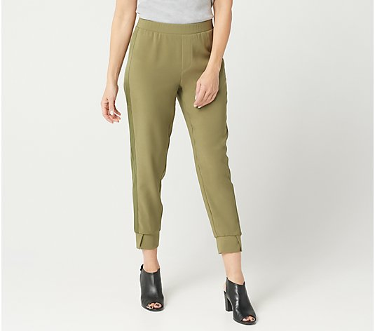 H by Halston Petite Ankle Pull-On Pants with Tuxedo Panel