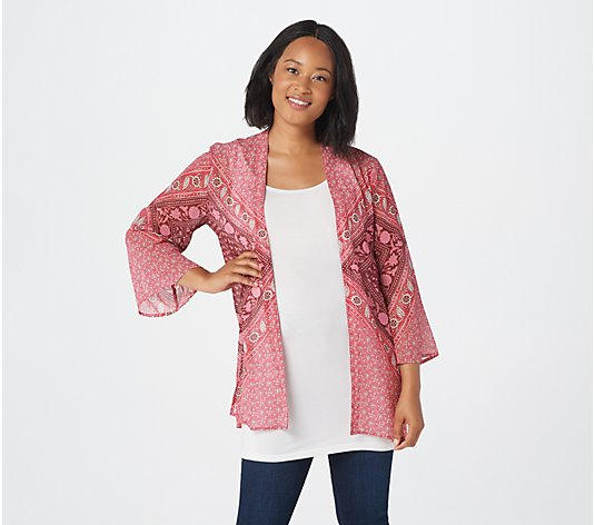 Isaac Mizrahi Live! TRUE DENIM Engineered Print Kimono