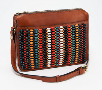Patricia Nash Leather Beaded Top Zip Crossbody Bag - Nazaire - A366740