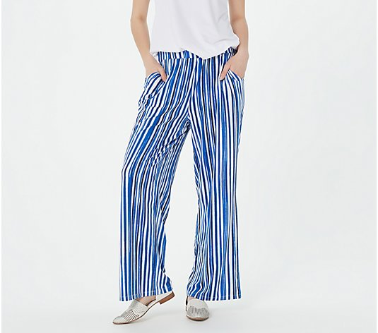 Elizabeth & Clarke Printed Wide-Leg Pants with StainTech