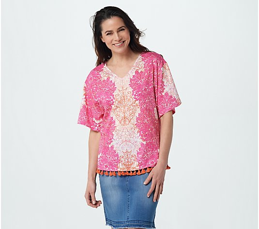 Belle Beach by Kim Gravel Seascape Top with Tassel Trim