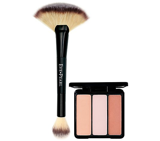 EVE PEARL Blush Trio & Fan Highlighter Brush