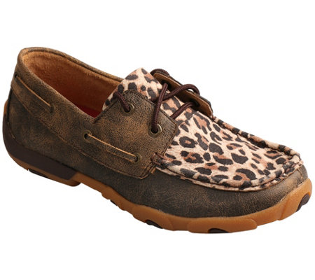 Twisted X Women's Leather Boat Shoe Driving Mocs