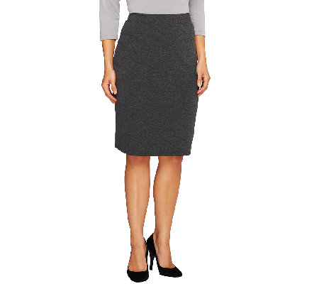 Liz Claiborne New York Petite Ponte Knit Straight Skirt