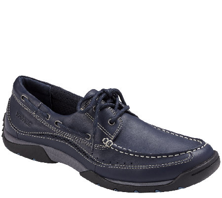 Vionic with Orthaheel Men's Orthotic Leather Boat Shoes - Eddy