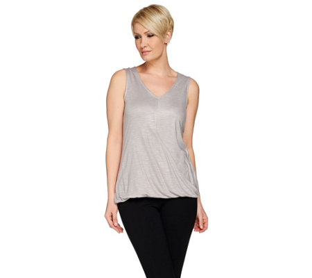 H by Halston Wrap Front Knit V-Neck Sleeveless Top