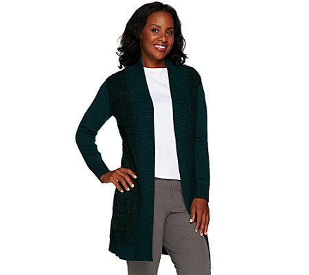 """As Is"" Isaac Mizrahi Live! Boucle Duster Cardigan"