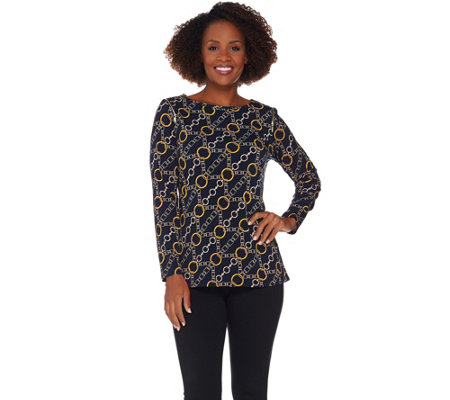 Susan Graver Printed Liquid Knit Top with Zipper Detail