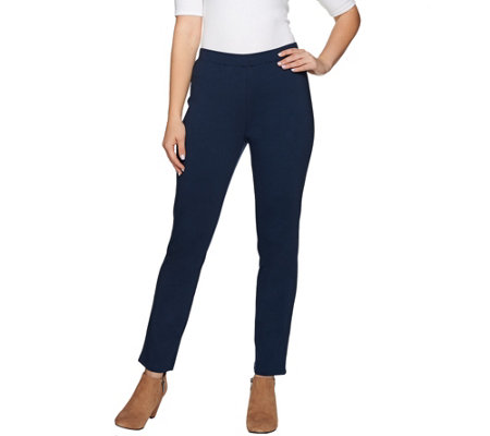 H by Halston Regular Slub Ponte Pull-On Ankle Pants