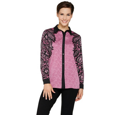 Bob Mackie's Printed Long Sleeve Button Front Top