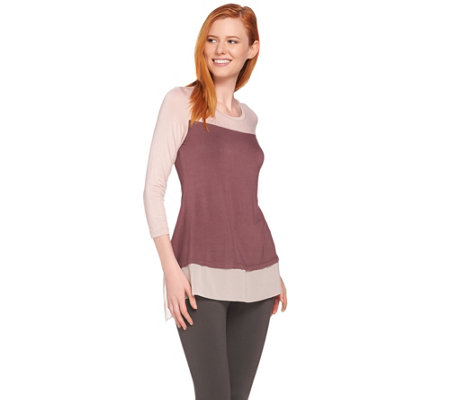 LOGO by Lori Goldstein Color-Block Top with Picot Edge Chiffon Trim